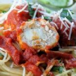 Mozzarella-Stuffed Pesto Turkey Meatballs