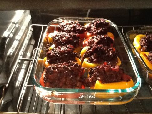 Black Rice and Turkey Stuffed Peppers