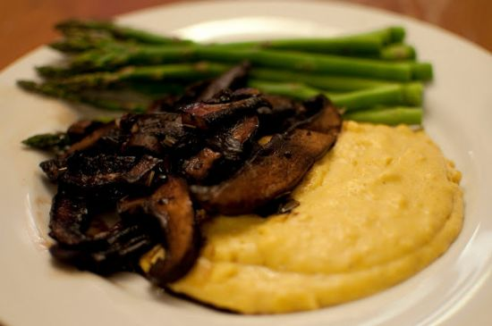 Balsamic Glazed Portobellos over Creamy Polenta