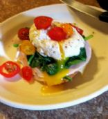 Benedict version-Sunrise Poached Egg open face sandwich
