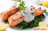 Spinach Stuffed Salmon w/ Dill Yogurt Sauce