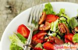 Bitter Spring Greens Salad with Pecans and Strawberries