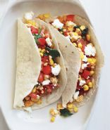 Vegetarian Tacos with Spinach, Corn, and Goat Cheese