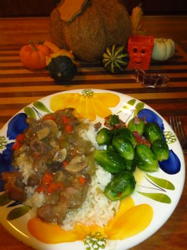 Chicken gizzards wth rice-Crock pot.