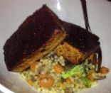 Balsamic & Mustard Glazed Tofu with Israeli Couscous & Vegetable Pilaf