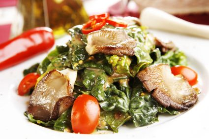 Warm Spinach Salad with Mushrooms