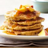 Peach Pancakes with Chai Syrup