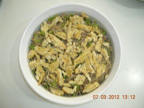 Stir Fry Rice Noodles with Celery & Ground Pork