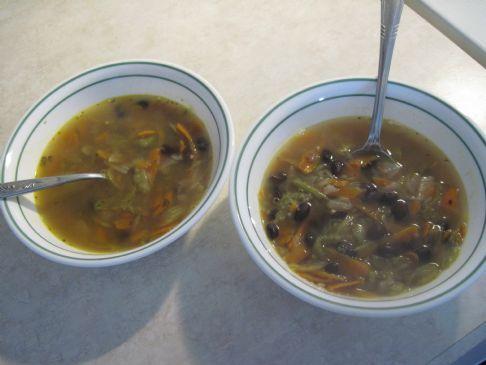 Onion Veggie Black Bean Soup