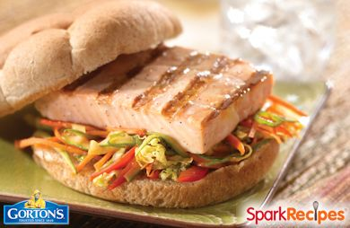 Classic Grilled Salmon Burgers With Sesame Ginger Slaw Recipe Sparkrecipes