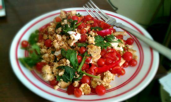 Spinach Tofu Veggie Scramble