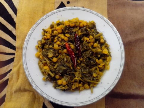 Kolmi Saak with Booter dal, Bengali style