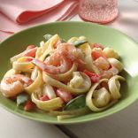 Light Shrimp Alfredo with vegetables