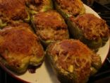Turkey-Pork-Bean Stuffed Green Peppers
