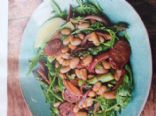 Chorizo, bean, green bean and red onion salad