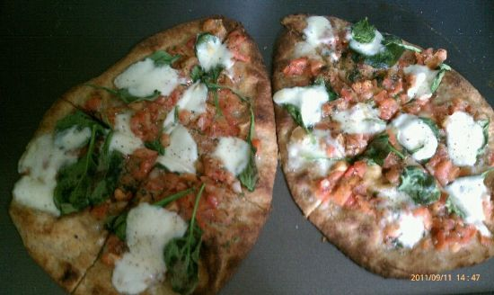 Goat Cheese, Spinach, Bruschetta Naan Pizza