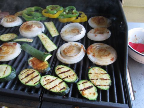 grilled vegetables - onions, peppers, zuchini