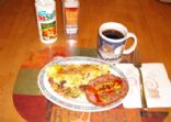 One egg mushroom, bacon, artichoke omelet