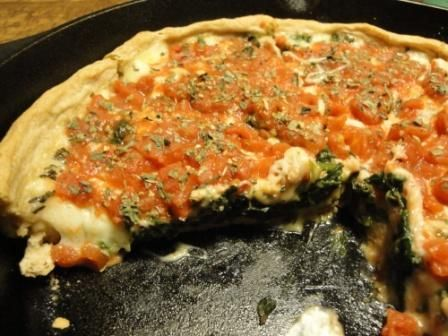 Chicago Style Spinach Pizza with Whole Wheat Crust