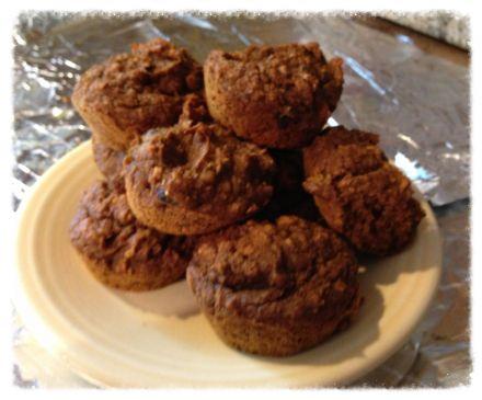 Natural Whole-Grain Pumpkin-Oatmeal-Raisin Muffin made with Date Sugar