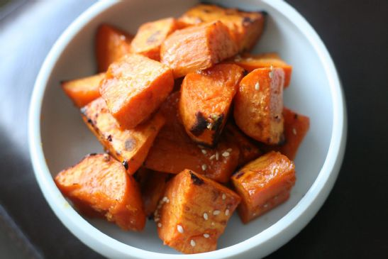 Low fat, low cal Roasted Honey, Basil, Balsamic Sweet Potato