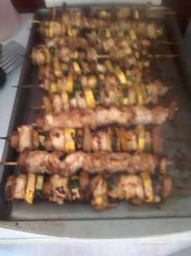 Grilled Terriyaki Chicken and Veggie Kabobs