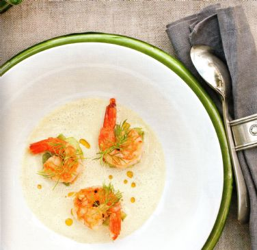 Cucumber & Dill Soup w seared ginger prawns