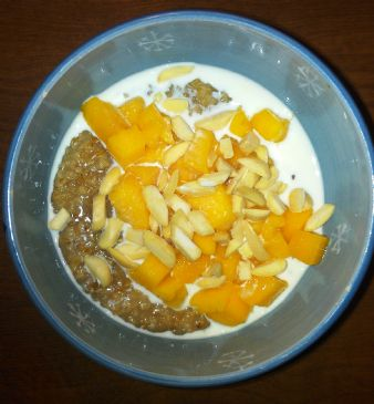 Steel Cut Oatmeal with Almonds and Mango