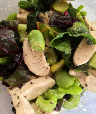 Lemon-Garlic Fava Bean, Chicken & Chard Salad