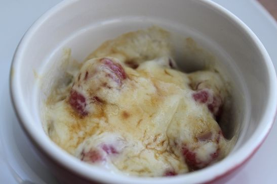 Raspberry Gratin (sour cream, raspberries and brown sugar)