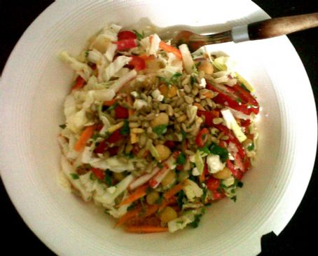 Shredded Salad with Chick Peas, Feta, Sunflower Seeds and Coconut-Lime Dressing