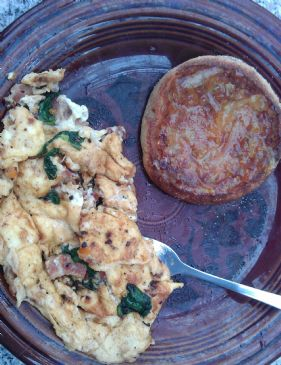 spinach, bacon, and goat cheese omlette