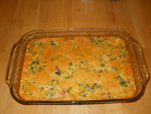 Crustless Quiche w/Kale, Onions & Peppers