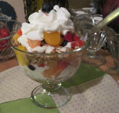 Fruit Salad Parfait w Fat Free Redi Whip Topping