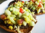 Black Bean Tostadas with Cucumber Corn Salsa