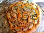 Eggplant, Zucchini and Orange Bell Pepper Pizza