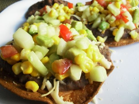 Black Bean Tostadas with Cucumber Corn Salsa