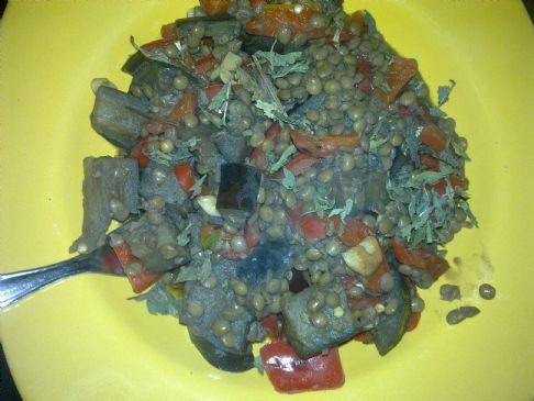 Aubergines with lentils