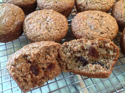 Bran Muffins with Dates, low fat, vegan