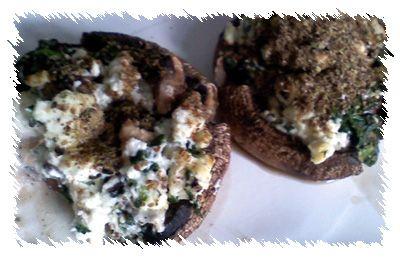 Feta and Flax Stuffed Mushroom Caps