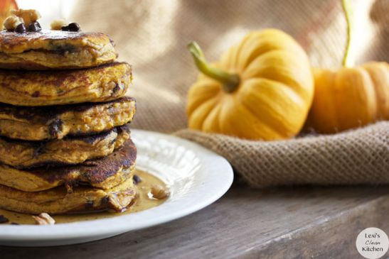 Pumpkin Chocolate Chip Protein Pancakes