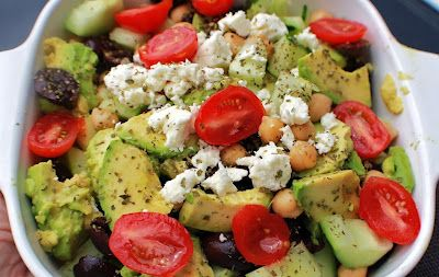 Avocado Chickpea Cucumber & Tomato Salad