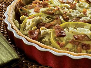 Paula Dean's Green Tomato and Bacon Tart (1 serving = 1/6 tart)