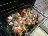 Salmon potato spinach casserole