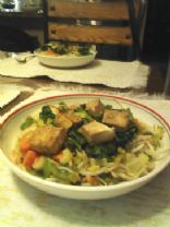 Tofu Shanghai Bok on Bean Sprouts stir fry bed