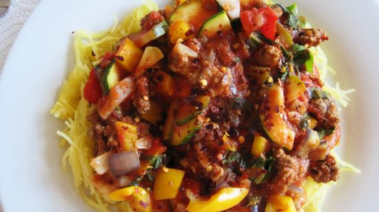 Spaghetti Squash and Meat Sauce