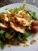 Herb Roasted Chicken Salad with Melted Market Grapes and Onions in a Warm Mustard Vinaigrette