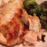 Chicken with pasta, roasted Brussels sprouts and lemon butter tarragon sauce