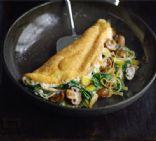 Leek, mushroom, spinach souffle omelet