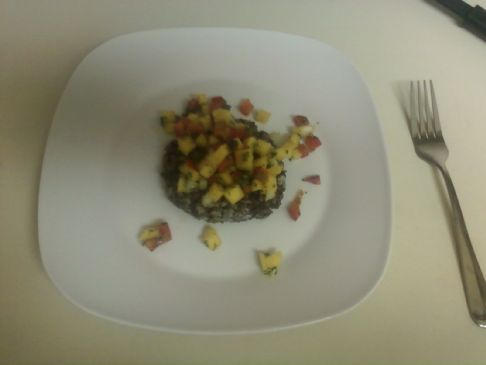Black bean and rice cakes w/ Mango Salsa